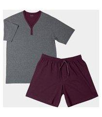 conjunto pijama mash manga curta algodão masculino