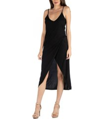 24seven comfort apparel cami top strapped midi wrap dress