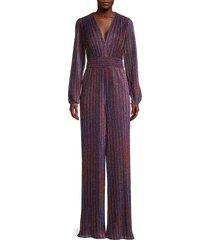 jonathan simkhai women's rainbow shimmer striped jumpsuit - rainbow - size 0