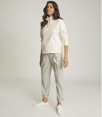 reiss mia - fabric mix funnel neck sweatshirt in white, womens, size l
