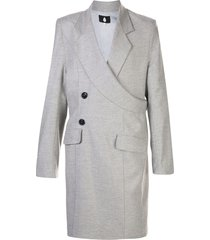 duoltd asymmetric wrap-style coat - grey