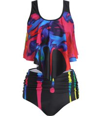 overlay tie dye ruched tankini swimsuit