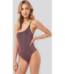 trendyol lurex one shoulder swimsuit - pink