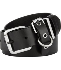 calvin klein flat-strap multi-loop leather belt
