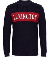 burt sweater gebreide trui met ronde kraag blauw lexington clothing