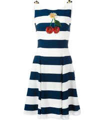 dolce & gabbana cherry patch striped dress - blue