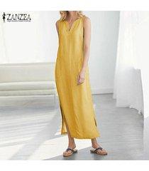 zanzea vestido sin mangas sin mangas para mujer vestido midi con escote alto vestido camisero largo con hombros descubiertos -amarillo