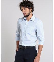 camisa masculina comfort estampada xadrez com bolso manga longa azul claro