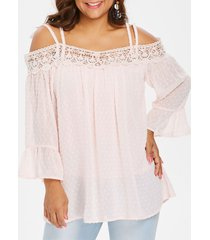 back criss cross lace insert plus size blouse