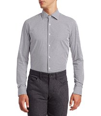 saks fifth avenue men's circle-print cotton shirt - blue - size s