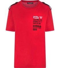 dolce & gabbana epaulette jersey t-shirt - red