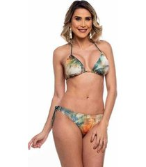 biquini cortininha asa delta com lacinhos folhas maré brasil feminino - feminino