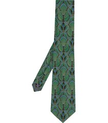 gianfranco ferré pre-owned 1990 peacock print tie - green