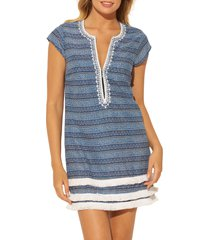 women's bleu by rod beattie take a dip plunge neck fringe cover-up dress, size small - blue