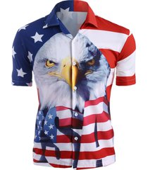 american flag eagle 3d print beach shirt
