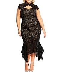plus size women's city chic lace cotton blend mermaid dress