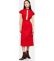 red plunge tie neck midi dress - red