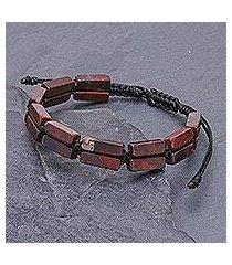 jasper beaded wristband bracelet, 'khao kho nature' (thailand)