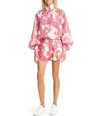 women's zimmermann peggy paisley linen & cotton shorts, size 1 (fits like 4-6 us) - pink