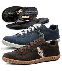 kit 2 pares de sapatênis casual dhl masculino cinza e marrom + chinelo conforto