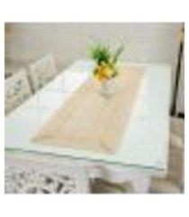 caminho de mesa bordado decoração 40x85cmbege