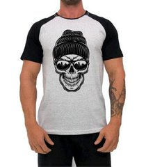 camiseta mxd conceito caveira de gorro masculina