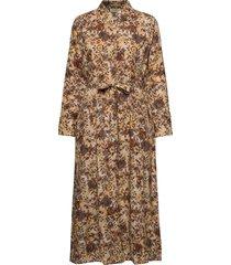 augustacrmargot long dress knälång klänning brun cream