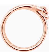 anillo ancho lifelong, blanco, baño en tono oro rosa