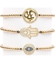 eye candy la women's luxe hamsa, ohm, evil eye 3-piece goldtone titanium & crystal bracelet set