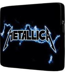 capa para notebook metallica 15.6 à 17 polegadas com bolso - unissex