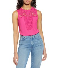 women's halogen lace & crepe top, size x-large - pink