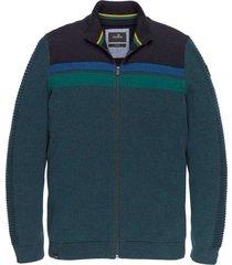 vanguard zip jacket cotton mouline salute gebreide vesten blauw