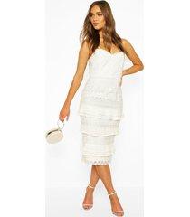 boohoo midi-jurk met kanten details voor elke gelegenheid, ivoor