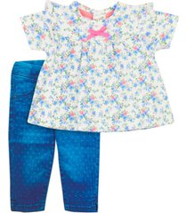 conjunto newborn spring floral azul ficcus