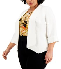kasper plus size draped-neck cardigan linen jacket