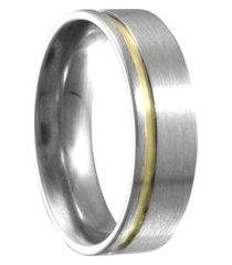 aliança compromisso de aço c/ filete de ouro -12