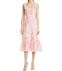 women's loveshackfancy weslan floral dress, size 6 - pink