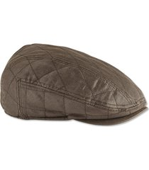 waxed cotton quilted driving cap, brown, large