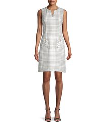 grid-print tweed sheath dress