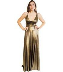 vestido zara fiesta dorado envejecido natalia seguel