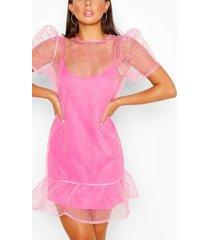 dobby mesh smock dress, soft pink