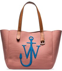 jw anderson belt embroidered recycled canvas tote - pink