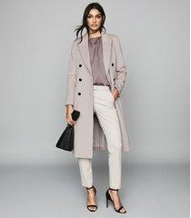 reiss maddie - wool blend longline coat in silver grey, womens, size 10