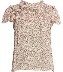 francesca floral tier-ruffle silk-blend blouse