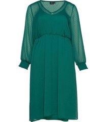 dress plus long sleeves elastic waist knälång klänning grön zizzi
