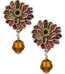 crystal fall flower drop earrings