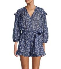 parker women's ryan floral ruffle romper - blue floral - size xxl