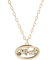 horse and carriage oval necklace