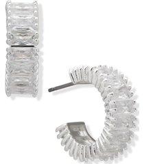 """anne klein silver-tone small baguette-crystal c-hoop earrings, 0.73"""""""