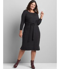 lane bryant women's tie-front sweater dress 22/24 charcoal grey